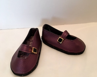 """DF24- 18"""" Maplelea doll shoes: purple mary jane shoes with top stitching detail"""
