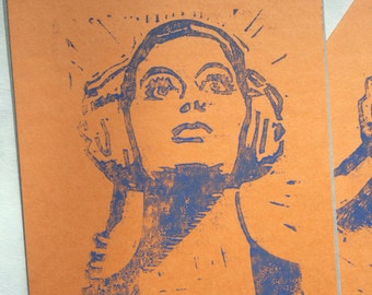 Blue and orange headphones girl card with envelope