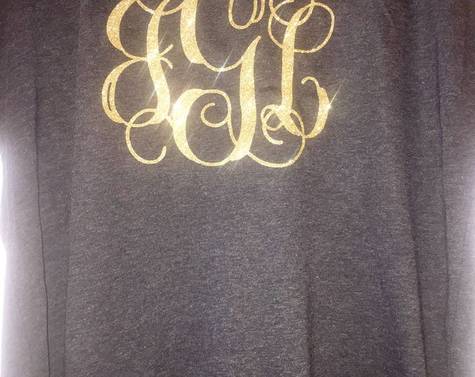 Christmas gifts. Vines monogram flowy shirt .  Customized three initial big monogram shirts . Ladies Eco , light weight monogram t shirt .