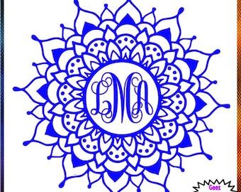 Mandala Monogram vinyl decal car tumbler cup decal personalized Script Frame Customized