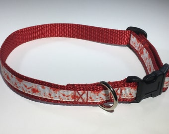 "Blood Spatter 5/8"" Medium Dog Collar"