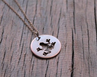 Frog Pendant,Copper Frog Necklace, Hand Cut Frog Pendant, Rustic Style Pendant, Nature Inspired Jewelry, Frog Jewelry, Frog Necklace