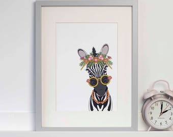 Illustrated A4 Art Print | Zebra Illustration | Zebra Art Print | Childrens Bedroom Art | Childrens Bedroom Decor | Zebra Wall Art | Zebra