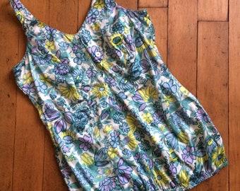 vintage 1950s swimsuit // 50s floral bathing suit