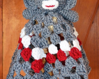 Crochet Granny Square Lovie Sock Monkey