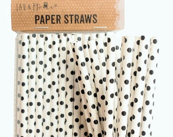 Party Straws Paper Disposable Tableware - Black & White Small Points