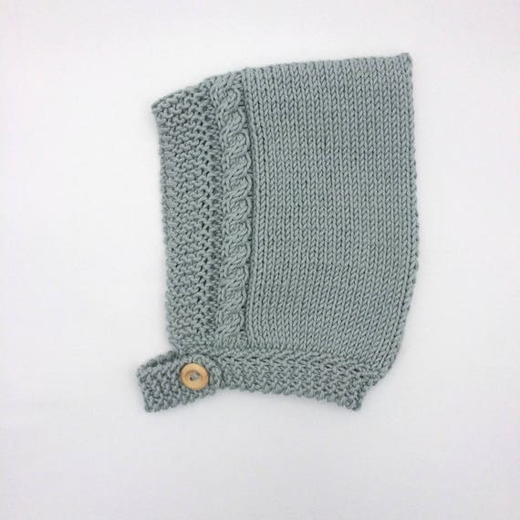 Organic Cotton Cable Pixie Hat in Duck Egg - Made to Order