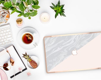 Macbook Pro 13 Case . Marble Nude . Macbook Air Case . Laptop Case . Macbook Case . Rose Gold Chrome . Hard Case - Platinum Edition