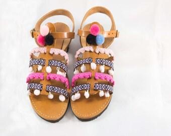 Greek Leather Sandals with Pom Pom | Gladiator Boho Sandals
