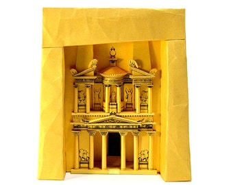"Petra Treasury, paper model kit of ""Indiana Jones temple"" in Jordan || 26 cm = 10 inches high || gold color"