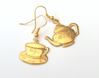 Mismatched Earrings, Time for Tea Earrings, Teapot Earrings, Teacup Earrings, Alice in Wonderland, Plated, Gold Filled or Surgical Wires