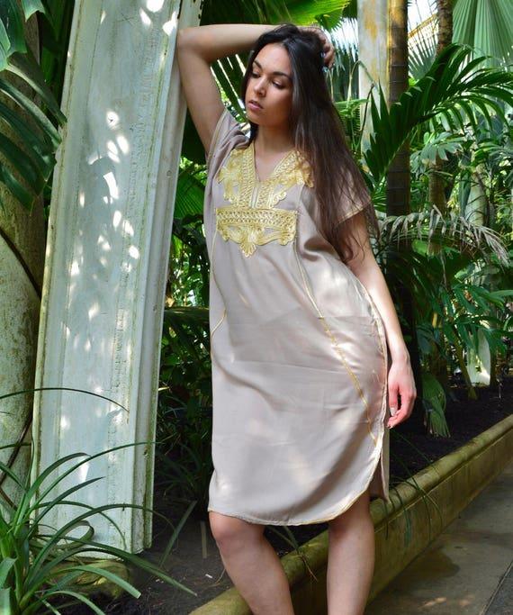 New Beige Gold Marrakech Resort SHORT Tunic Caftan Kaftan - Summer dress, spring dress,beach cover ups, resortwear,loungewear, birthdays