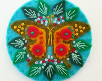 Butterfly felt brooch statement pin - hand embroidery - scandinavian style - unique - limited edition - gold red turquoise nature