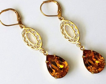 Swarovski Crystal Earrings Crystal Topaz Earrings Gold Dangle Earrings Swarovski Crystal Drop Earrings Topaz Earrings Art Deco Earrings
