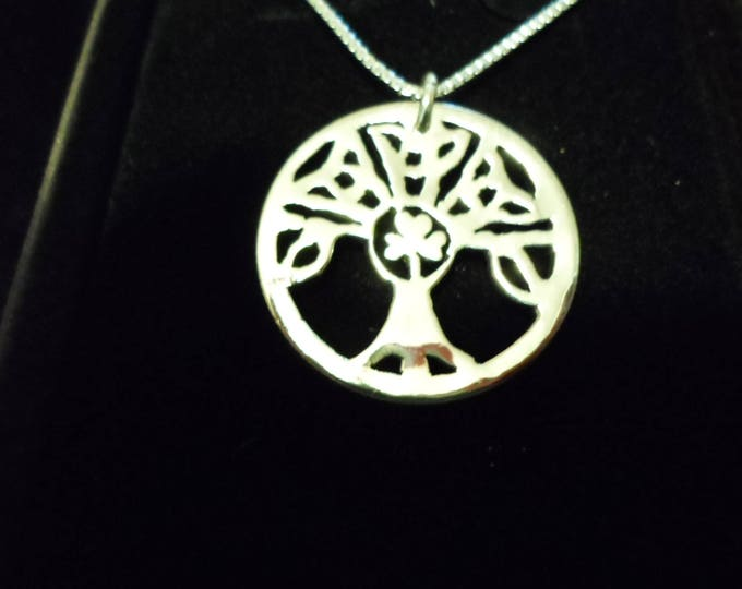 Celtic tree of life  shamrock quarter size w/sterling silver chain