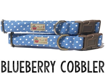 "Cornflower Blue White Vintage Polka Dot Dog Collar -  Organic Cotton - Antique Metal Hardware - ""Blueberry Cobbler"""
