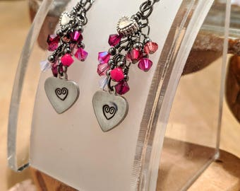 Be My Valentine red and pink Swarovski cascade earrings with a hand stamped and polished heart charm that you will LOVE