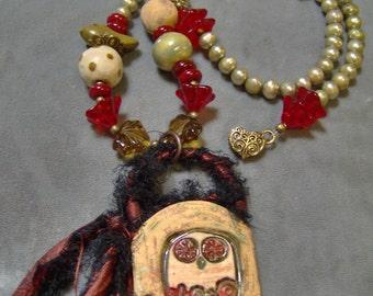 Ceramic Owl and Lampwork Beaded Pendant-Necklace - Freshwater pearls - Artisan Ceramic Beads - Artisan Lampwork Beads- Sari Silk - SRAJD