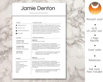 Resume Template • Modern & Professional Resume Template for Word • CV Resume + Cover Letter + Ref •  Instant Download Resume • 5 Page Resume