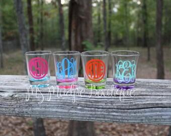 monogrammed shot glasses bridal party gifts batcherlotte