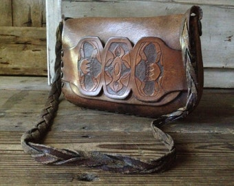 Tooled Leather Purse Saddle Bag Rustic Satchel 1970s Retro Artisan Crafted