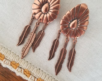 Vintage 1960's - 1970's Native American Style Copper Concho Feather Earrings