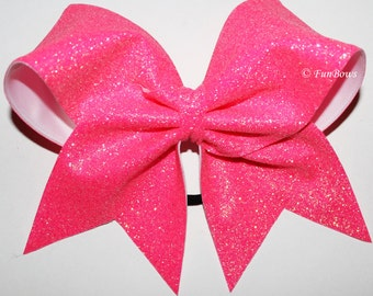 Awesome  Pink Glitter Cheerleading Bow Awareness  - by FunBows !