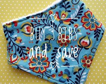 Buy 3 and save - cotton or bamboo bandana dribble bib (choose backing fabric)