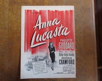 "1949 Original Vintage Movie ad ""Anna Lucasta""  starring Paulette Goddard"