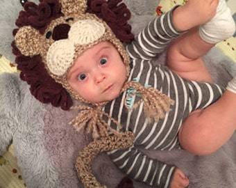 Lion Costume - Baby Lion Hat and Tail  - Lion Costume Hat and Tail - Baby Halloween Costume - Cute and Soft Earflap - by JoJosBootique