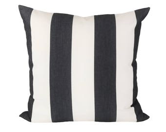 Cabana Stripe Black & White pillow covers - Indoor/Outdoor - Made to Order