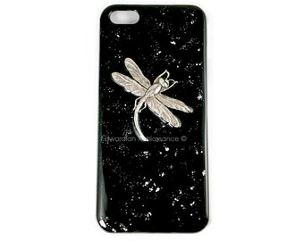 Iphone Case Antique Silver Dragonfly Inlaid in Hand Painted Black Enamel with Silver Splash Insect Metal Phone Case with Custom Colors