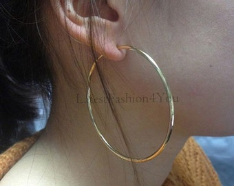 For Non Pierced Ears - Gorgeous Golden Spring Loaded Clip On 6cm 60mm Fake Ear Hoop Ring Studs