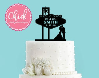 Custom Famous Las Vegas Sign and Couple Kissing Acrylic Wedding Cake Topper