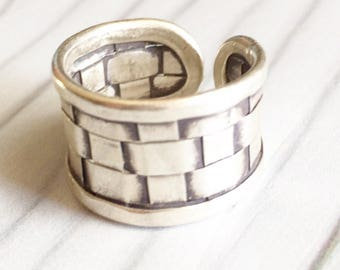 Small silver ring, weaven silver ring, thin silver ring, modern weaven ring
