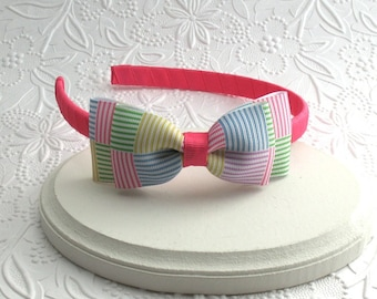 Girls Headband, Preppy Headband, Toddler Headband, Seersucker Hair Bow Headband, Adult Headband, Hot Pink Headband, Bow Headband