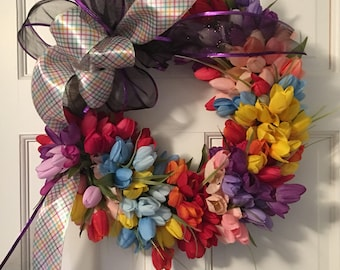 Tulip Front Door Wreath, Spring Wreath, Tulip Wreath, Wreath with Tulips, Spring Tulip Wreath, Varigated Tulip Wreath