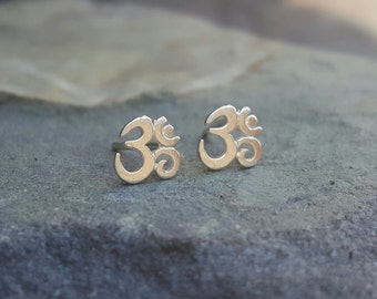 Om Earrings Inspirational Earrings Om Stud Earrings Om Studs Womens Gift Inspirational Jewelry Sterling Silver Stud Earrings Yoga Jewelry