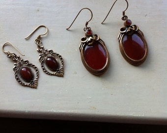 Final Reduction Sale Vintage Victorian Style Earrings two pairs repro 70s costume jewellery