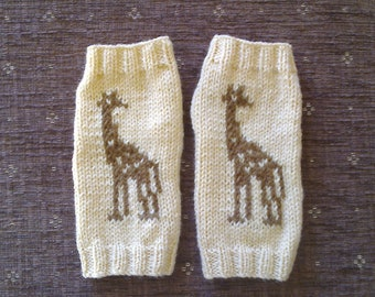 Giraffe wrist warmers - fingerless gloves