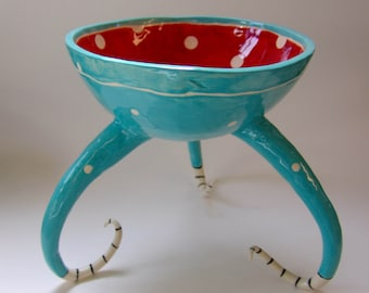 whimsical pottery Serving Dish, red & turquoise ceramic colorful Bowl with polka-dots and curly striped beetlejuice legs