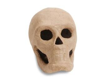1 Small Paper Mache Skull - Papier Mâché Skull - Papier Mache - Day of the Dead - Hallowe'en - Halloween  - Skeleton   (W-10, S-018)