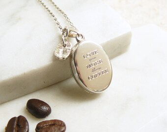 Silver 'Love you more than coffee' Locket with Silver Coffee Bean Charm Necklace