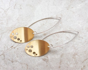 Brass Ovals with Holes Dangle Earrings