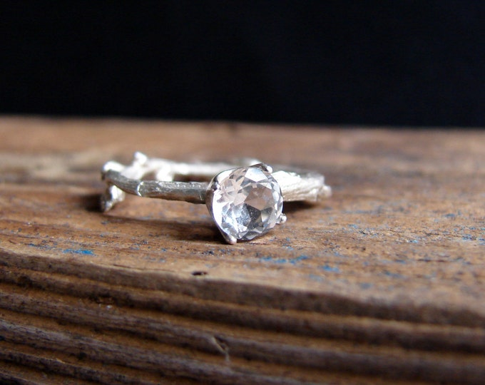 Branch Jewelry White Topaz Twig Ring Alternative Diamond Engagement Ring Sterling Silver Botanical Ring Aries April Birthstone