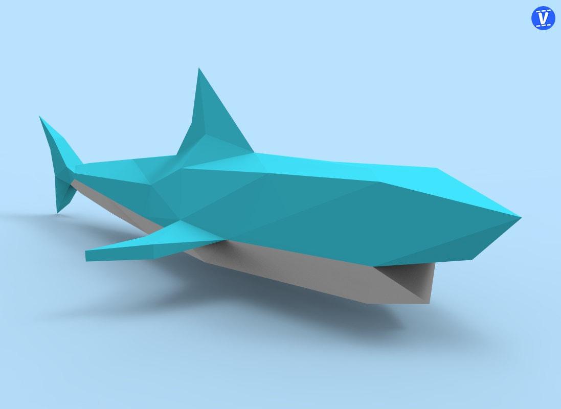 Shark Paper Toy : Shark papercraft pdf pack d paper sculpture template with