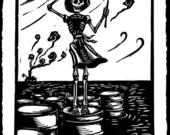 Skeleton and oil spill li...