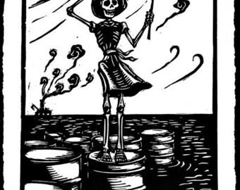 Skeleton and oil spill linocut print