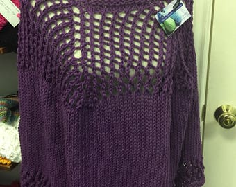Cotton  Poncho, Hand Knit in Plum Purple Yarn