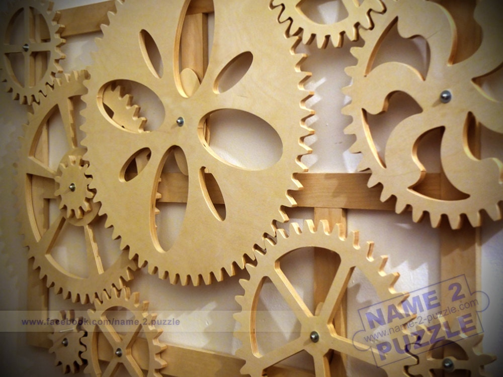 Wooden Kinetic Wall Decor. Mechanical Wall Art. Wooden